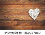 Heart On Wooden Background....