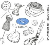 sewing tools set. sawing tailor....   Shutterstock .eps vector #560395513