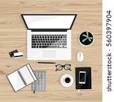 office desktop with laptop ... | Shutterstock .eps vector #560397904