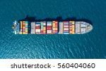 container ship in export and... | Shutterstock . vector #560404060