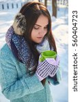 young girl with a cup   | Shutterstock . vector #560404723