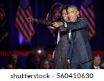 Small photo of U.S. President Barack Obama and his wife Michelle acknowledge the crowd after President Obama delivered a farewell address at McCormick Place in Chicago, Illinois, U.S. January 10, 2017.