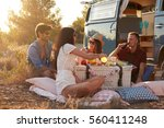 friends on a road trip  having... | Shutterstock . vector #560411248
