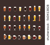 beer glasses and mugs flat icon ...
