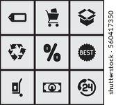 set of 9 shopping icons....