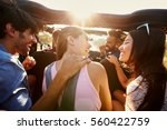 five friends travelling... | Shutterstock . vector #560422759