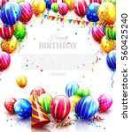 colorful balloons and confetti... | Shutterstock .eps vector #560425240