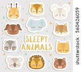Stock vector big set of cute cartoon sleepy animals stickers cute stickers patches or pins collection cute 560426059