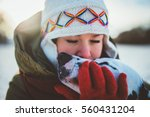 girl and her dog big love best... | Shutterstock . vector #560431204