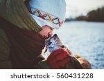 girl and her dog big love best... | Shutterstock . vector #560431228