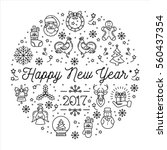 happy new year 2017 rooster... | Shutterstock . vector #560437354