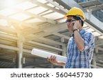 foreman worker on construction... | Shutterstock . vector #560445730