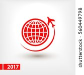 globe with airplane icon  ... | Shutterstock .eps vector #560449798