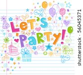 hand drawn sketchy let's party... | Shutterstock .eps vector #56045371