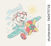 pilot bear vector cartoon...   Shutterstock .eps vector #560475718