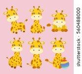 set of giraffe in different... | Shutterstock .eps vector #560488000