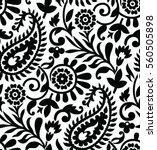 Seamless Paisley Black And...