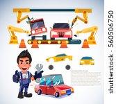 car factor. robotic arms make...   Shutterstock .eps vector #560506750