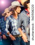 country dance school girls with ... | Shutterstock . vector #560508220