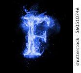 Fire Letter F Of Burning Blue...