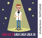 young nerd singing karaoke on... | Shutterstock .eps vector #560516068