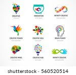 Creative, digital abstract colorful icons, elements and symbols, logo collection, template | Shutterstock vector #560520514
