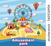 amusement park concept. cartoon ... | Shutterstock . vector #560526904