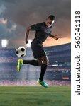 african american soccer player... | Shutterstock . vector #560541118