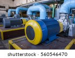 big blue water pump   poland. | Shutterstock . vector #560546470