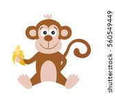 funny monkey with banana. cute  ... | Shutterstock .eps vector #560549449