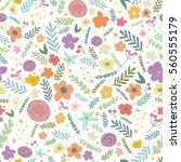 floral seamless pattern. vector ... | Shutterstock .eps vector #560555179