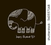cute elephant illustration.... | Shutterstock .eps vector #560557168