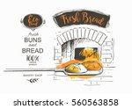 shovel baked bread oven vector...