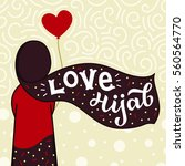 muslim girl in hijab with hand... | Shutterstock .eps vector #560564770