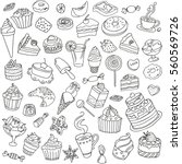 vector set of different sweets. ... | Shutterstock .eps vector #560569726