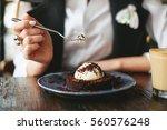 Girl Eating Chocolate Desert...