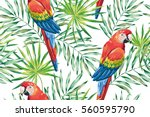 Macaw Parrots With Green Palm...