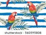 red macaw parrots with palm... | Shutterstock .eps vector #560595808