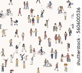 seamless pattern of tiny people ... | Shutterstock .eps vector #560600536