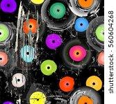 seamless vinyl records... | Shutterstock .eps vector #560604268