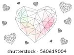 pink  yellow heart isolated on... | Shutterstock .eps vector #560619004