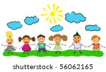 vector happy kids. | Shutterstock .eps vector #56062165