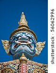 Statue of demon in the Ramayana in Grand Palace, Bangkok, Thailand - stock photo