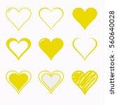 Yellow Heart Icon Set Vector...