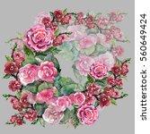 new flowers pattern watercolor... | Shutterstock . vector #560649424