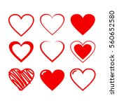 red heart icon set vector... | Shutterstock .eps vector #560652580
