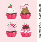 pink cupcake in happy valentine'...   Shutterstock .eps vector #560658238