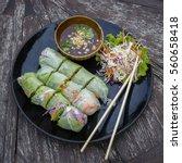 fresh vietnamese spring rolls... | Shutterstock . vector #560658418