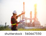 asian man worker and engineer... | Shutterstock . vector #560667550