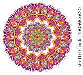 flower mandalas. vintage... | Shutterstock .eps vector #560687620